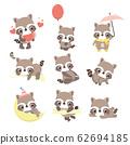 Set of cute raccoon character 62694185