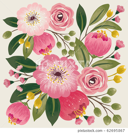 Vector illustration of a floral bouquet in spring 62695867