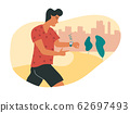 Running man with smartwatch or fitness tracker activity band on his wrist, counting the distance run and steps. Modern device or app, tracking such metrics as distance walked, calories and heartbeat. 62697493