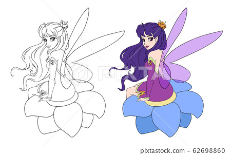 Illustration of a beautiful fairy sitting on the 62698860