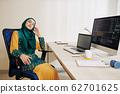 Female programmer having break at work 62701625