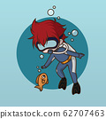 Cute water Diver charactor design. 62707463