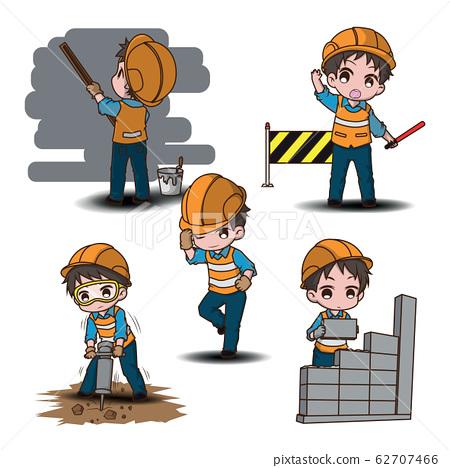 Set Cute construction worker cartoon character., 62707466