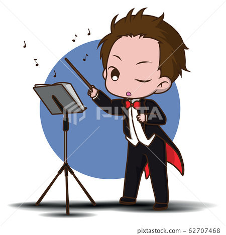 Cute Cartoon conductor in black tailcoat with 62707468