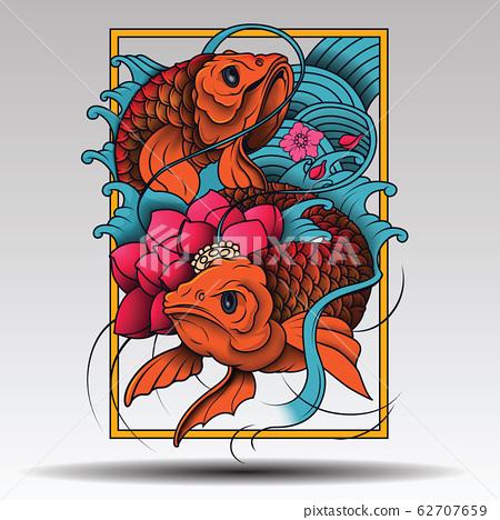 Japan Koi Fish Illustration Vector in Tattoo Style 62707659