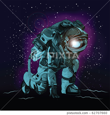 Astronaut in spacesuit on space., VECTOR 62707660