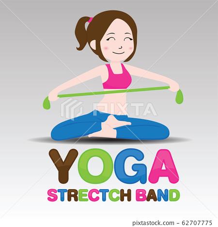 cartoon Yoga Strectch Band., vector. 62707775