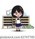 cute student girl cartoon 62707785