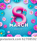 8 March. Women's Day Celebration Design with Flower and Typography Letter on Blue Background. Vector International Holiday Illustration Template for Banner, Flyer, Invitation, Poster or Greeting Card. 62708592