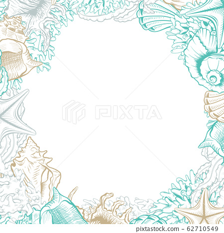 Square Frame with Seashells. Isolated vector poster with contour drawing sea shells for wedding design cards templates. 62710549