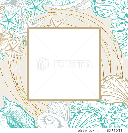 Square Frame with Seashells. Isolated vector poster with contour drawing sea shells for wedding design cards templates. 62710554