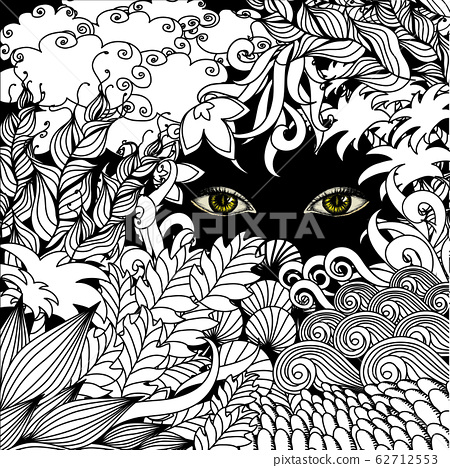 Summer zentangle floral background and Scary eyes 62712553