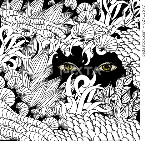 Summer zentangle floral background and Scary eyes 62712577
