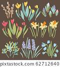 Spring colorful isolated flower collection on brown background. Red and yellow tulips, crocuses, lavender, hyacinths, daffodils, willow, mimosa. Vector cartoon flat stock illustration. 62712640