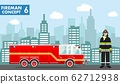 Fireman concept. Detailed illustration of woman firefighter and fire truck in flat style on background with cityscape. Vector illustration. 62712938
