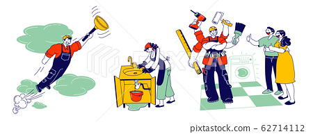 Handyman in Overalls with Instruments and Equipment for Technique and Plumbing Repair. Professional Worker with Tools 62714112