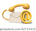 Letters, At sign and telephone handset 3D 62715415