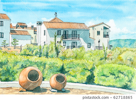 Watercolor painting Shima Mediterranean Village 62718865
