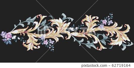 奢華的歐式紋樣素材,洛可可風格元素 62719164