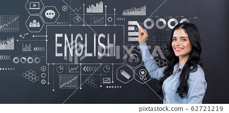 English concept with young woman 62721219