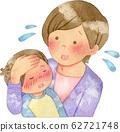어린이의 발열을 걱정하는 여성 62721748