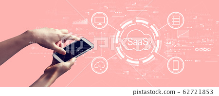 SaaS - software as a service concept with person holding smartphone 62721853