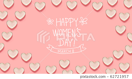 Women's Day message with many heart dishes 62721957