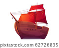 Vector wooden boat with red sails 62726835