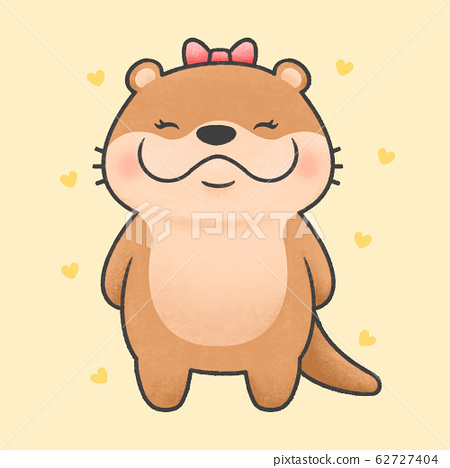 Cute otter cartoon hand drawn style 62727404