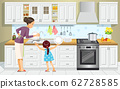 Mother and daughter washing the dishes. Girl Help Her Mum In Washing Dishes At Family Kitchen. Mother's day. Best mom. Concept motherhood child-rearing. Vector cartoon style illustration 62728585