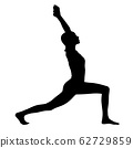 Black silhouette of woman doing yoga exercise. 62729859