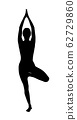Black silhouette of woman doing yoga exercise. 62729860