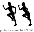 Collage of black silhouette of sporty woman running. 62729861
