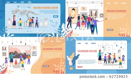 Art and Natural Museum Excursion Landing Page Set 62729923
