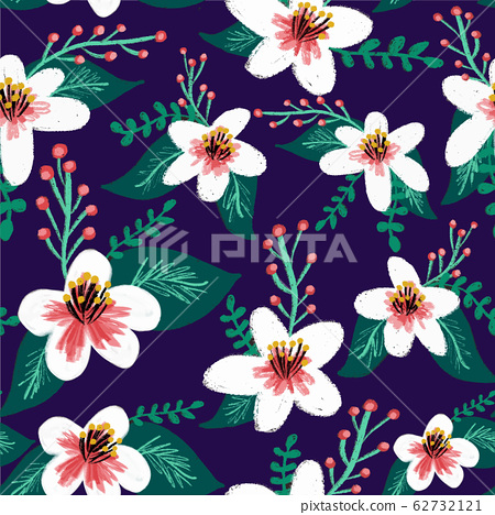 Seamless cherry blossom vector background pattern. White and pink Sakura blossom or Japanese 62732121