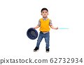 Asian cute little magician holding hat isolated on 62732934