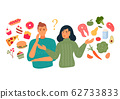 People chooses between fast food and healthy 62733833