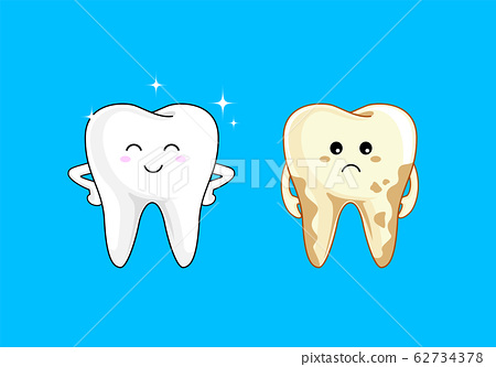 Cute cartoon tooth character, Bright and dirty tooth comparision.  62734378
