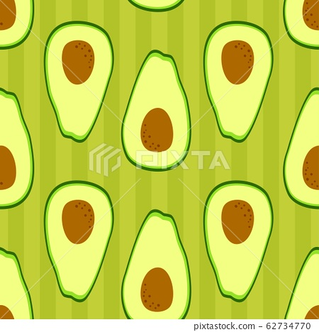 Avocado wallpaper pattern. Seamless design with half cut avocado on striped background. Simple cute 62734770