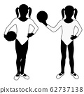 Children silhouettes. Girl playing with ball in white gymnastics leotard 62737138