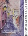 유럽의 거리 풍경 수채화 풍경화 62738140