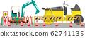 工地壓路機和挖掘機2 62741135