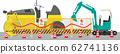 工地壓路機和挖掘機 62741136