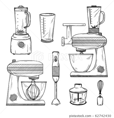 Large set of various blenders and kitchen robot. 62742430