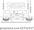 Sketch a cozy living room in boho style. 62742437