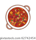 Italian cuisine soup. Minestrone. Plate with soup 62742454