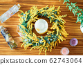 Mimosa candle wreath 62743064