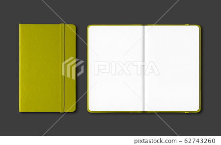 Olive green closed and open notebooks isolated on 62743260