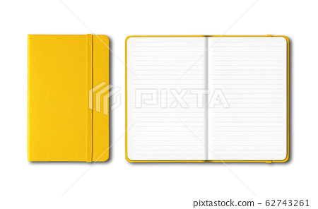Yellow closed and open lined notebooks isolated on 62743261