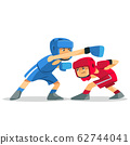 Boxing among children. Kids boxing, kickboxing children. Children fight with these adult emotions. Popularization of sports and healthy lifestyle. Vector illustration of boxing. 62744041
